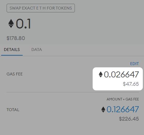 ETHを別通貨に交換する際の手数料