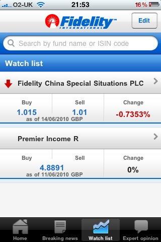 Fidelity iPhone App Watch List