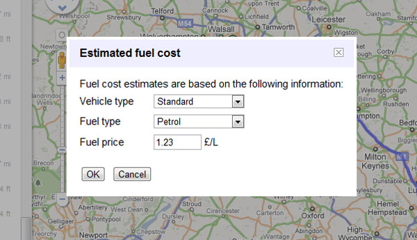 Google Map Fuel Calculator