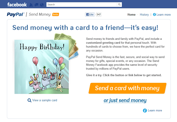 Send money on Facebook with PayPal
