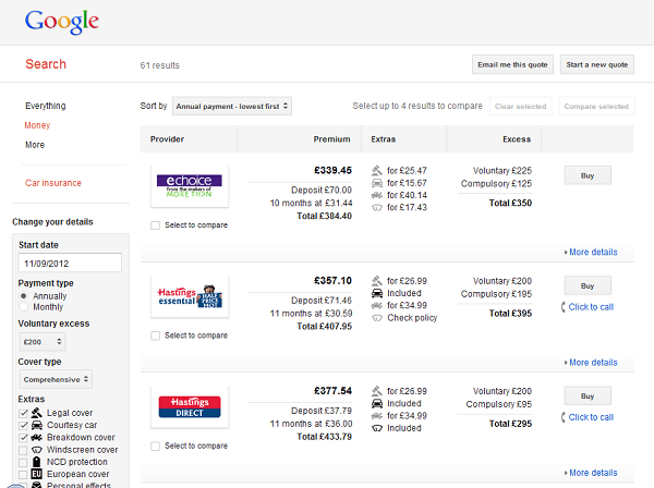 Google car insurance comparison results