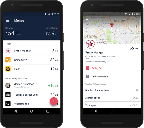 Monzo on Android