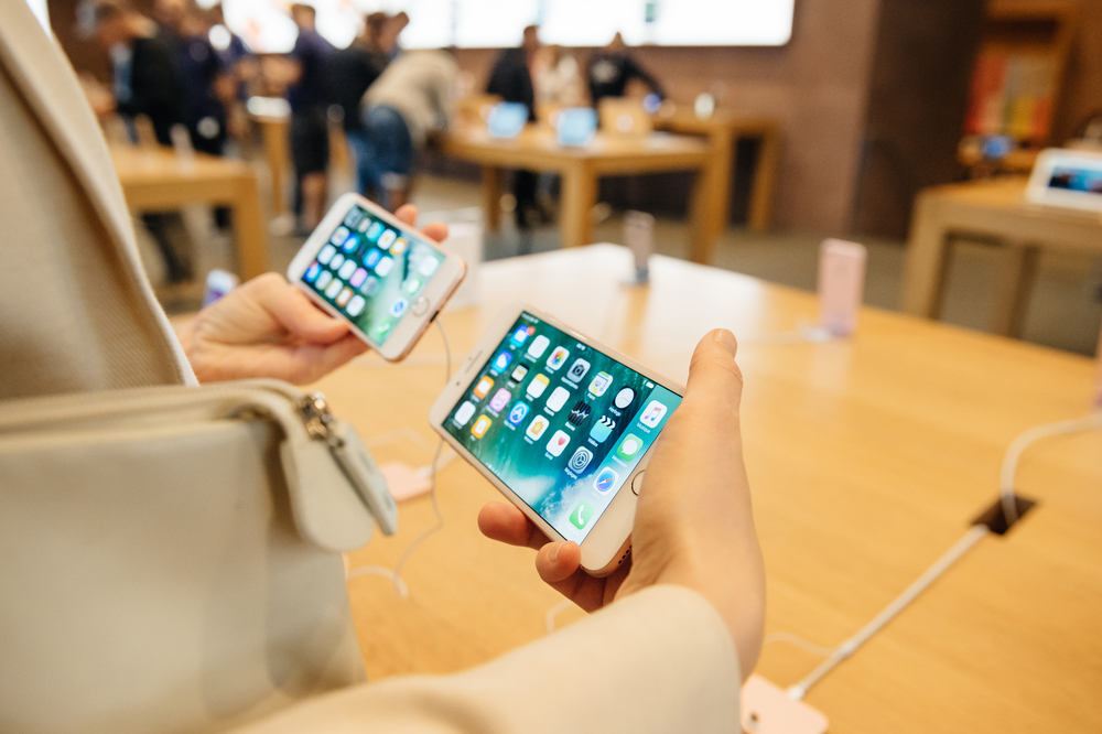 iPhones at an Apple Store
