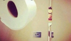 The awkward moment when you make eye contact in the mirror...and you're sitting on the loo!