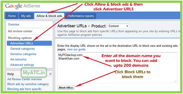 block adsense ads
