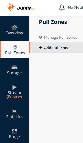 Create Pull zones bunnycdn