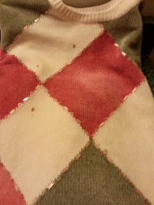 hot chocolate stained sweater no more