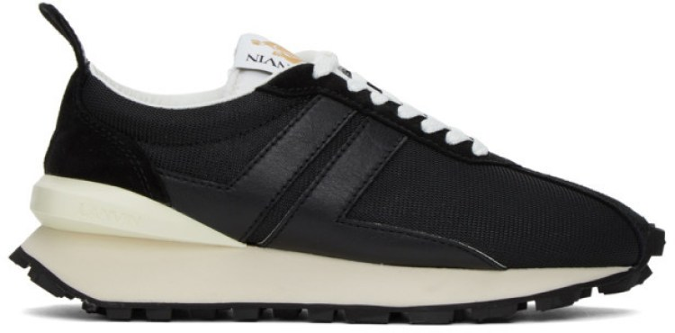Lanvin Leather and Mesh Bumper Sneakers - Black
