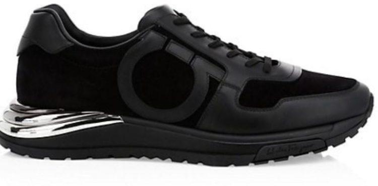 Salvatore Ferragamo Men's Brooklyn 5 Metallic Gancini Low-Top Sneakers