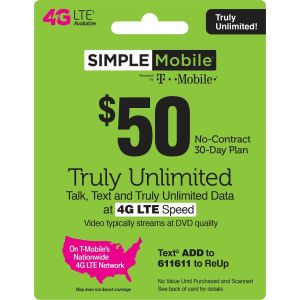 3 MONTH SIMPLE MOBILE $50 PLAN - 90 Days Preloaded with $50 Plan ($150 Value)