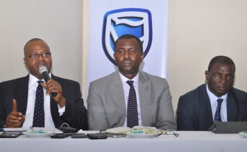 L-R: Chief Executive Officer, Stanbic IBTC Pension Managers Limited, Mr. Eric Fajemisin; Executive Director, Investments, Mr. Dele Sotubo; Executive Director, Operations, Mr. Steve Elusope; all of Stanbic IBTC Pension Managers Ltd at a media interactive session organized by the company in Lagos on Thursday December 1, 2016
