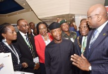 Professor Yemi Osinbajo, Vice President, Federal Republic of Nigeria (middle); Dr. Adesola Adeduntan, Chief Executive Officer, First Bank of Nigeria Limited (right); Dr Uche Olowu, President, Chartered Institute of Bankers of Nigeria (second right); Otunba Debola Osibogun, Non-Executive Director, FBN Holdings Plc and former President, Chartered Institute of Bankers of Nigeria (third left); Mr. Abdullahi Ibrahim, Executive Director, Public Sector, First Bank of Nigeria Limited (second left); and Folake Ani-Mumuney, Group Head, Marketing & Corporate Communications, First Bank of Nigeria Limited (left) at the CIBN 12th Annual Banking and Finance Conference held in Abuja