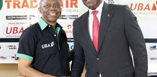 Trade Fair 1: Chairman, Trade Promotion Board and Vice-President, Lagos Chamber of Commerce and Industry(LCCI), Mr Gabriel Idahosa and Group Head, Consumer and Retail Banking, United Bank for Africa (UBA) Plc, Mr. Jude Anele, at the Press Conference organised by LCCI and the headline partner, UBA Plc, on the upcoming Lagos International Trade Fair 2019 in Lagos on Tuesday