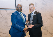 Dr Adesola Adeduntan, CEO, FirstBank (l), being presented the Cranfield School of Management Distinguished Alumnus Award 2020 by Professor Sir Peter Gregson FREng MRIA, DSc, Chief Executive and Vice-Chancellor, Cranfield University.