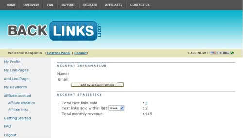 BackLinks控制台