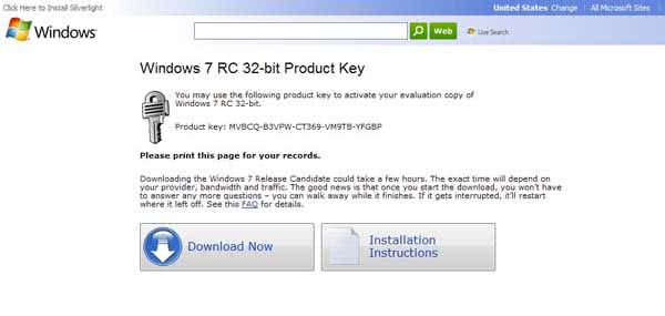 Windows 7 RC Product Key