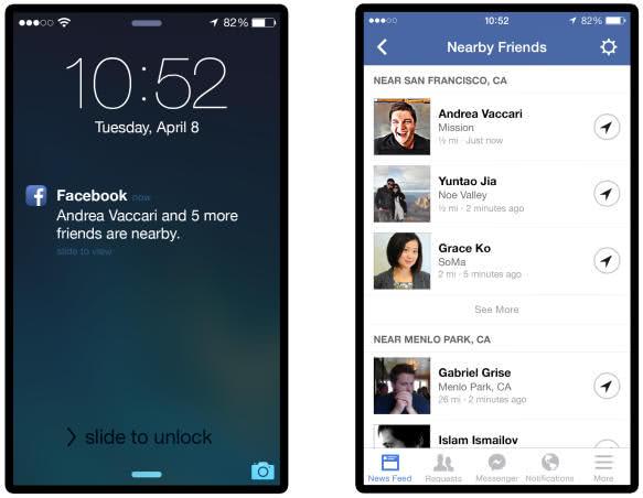 Facebook 「附近好友」功能