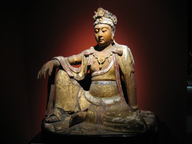 A carved wooden Bodhisattva from China's Song dynasty 960–1279, Shanghai Museum