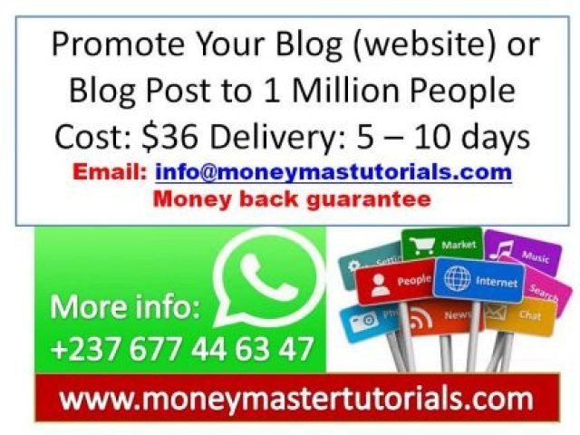 Promote Your Blog (website) or Blog Post to 1 Million People