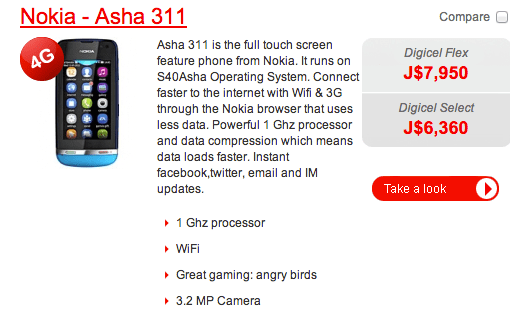 Digicel Nokia Asha 311 - Free phone offered in postpaid plan