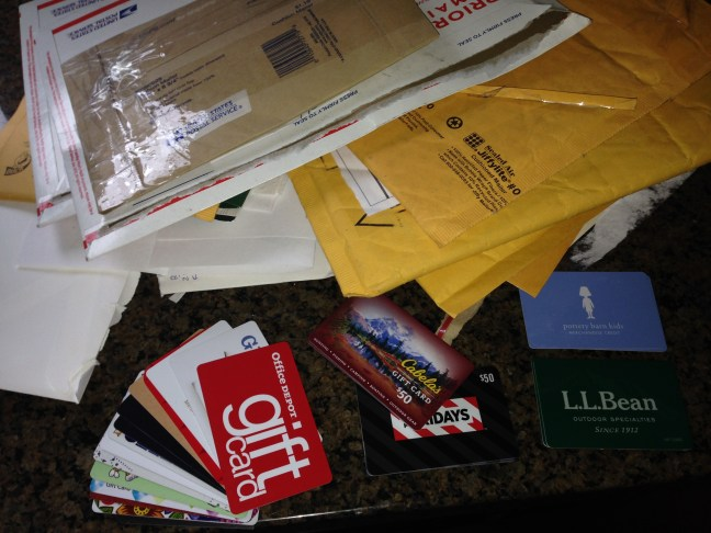 Leaving for a week causes the gift cards to really pile up.