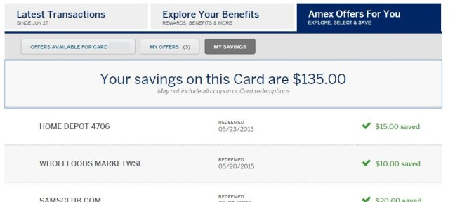 After just one year, I've used $135 worth of Amex Offers just on the primary card of the account!