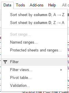 sheets filter option