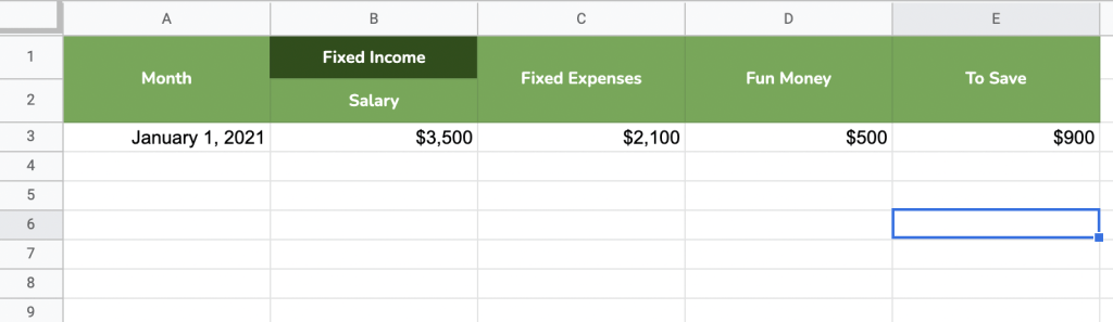 Simple budget template to help you save $10000 in a year