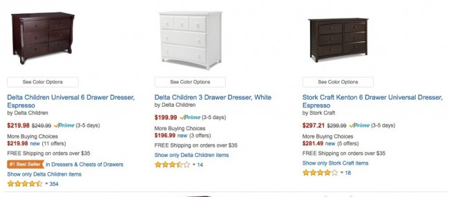 baby costs dressers