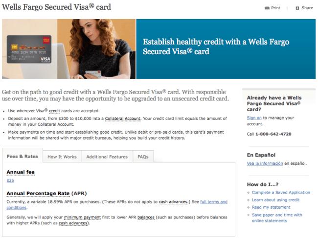 Secured Credit Card Wells Fargo