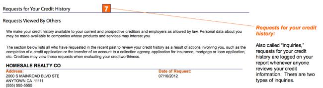 credit score inquiries sample credit report
