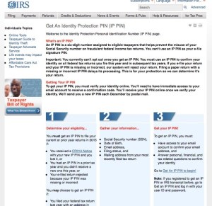 irs ip pin tax refund theft page