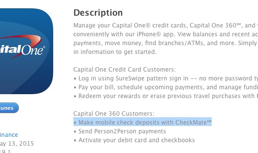 deposit checks iphone capital one