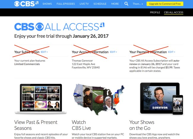 Cancel CBS All Access Step 2