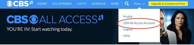 Cancel CBS All Access step 1