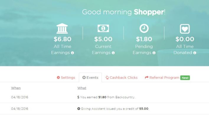 GivingAssistant cashback screenshot