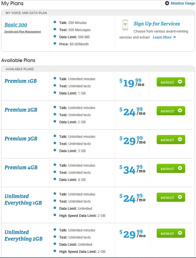 FreedomPop Paid Plans