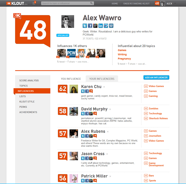 klout influencer search