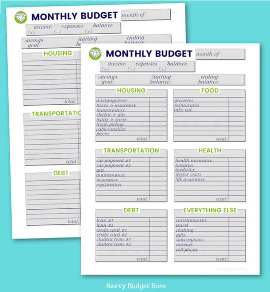 wise budget boss printable monthly budget template