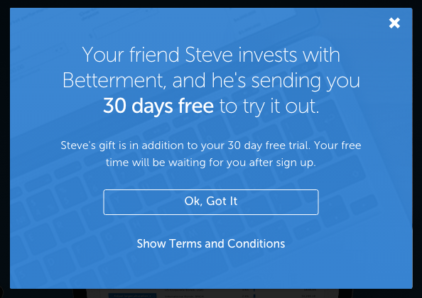 Open a betterment account and get 30 days free (no fees)