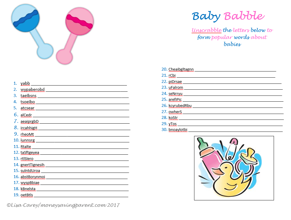 graphic about Printable Baby Shower identified as No cost Printable Kid Shower Online games: Movie star Little one Names and