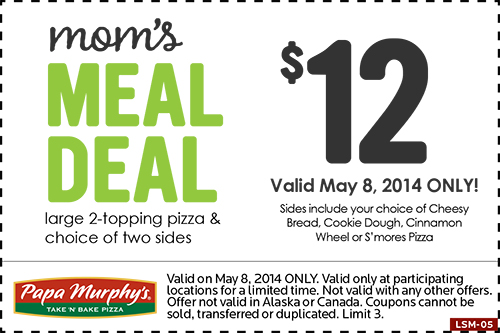 image about Papa Murphy Printable Coupon named Papa Murphys tends to make mouths pleased and mothers as well - Economic Preserving