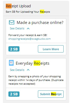 Swagbucks receipts scan and upload
