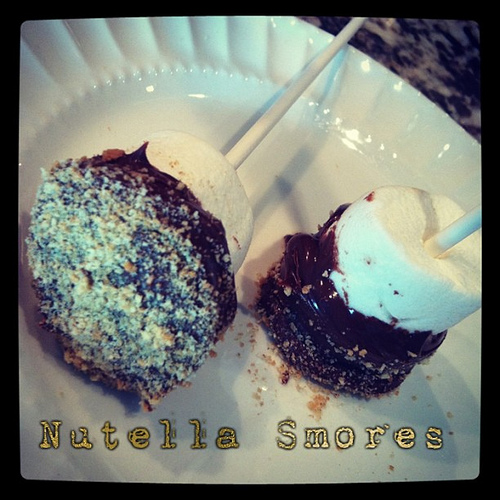 Do your kids love to make smores? Mine do! These Nutella Smores are so quick and easy, you won't even need a campfire! #smores #nutella #marshmallow #chocolate