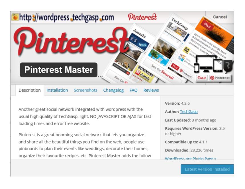 Plugin Pinterest Master