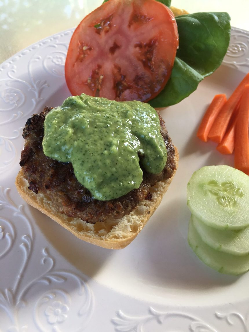 Wicked Juicy Turkey Burger with Creamy Avocado & Mint Sauce | Money Savvy Living