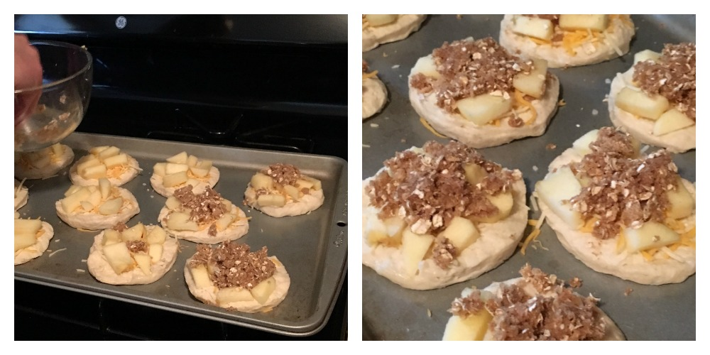 This quick and easy dessert is perfect for fall! Apple Pie Pizza is made using canned biscuits! #delicious #fall #apple #dessert #applepie #fingerfood