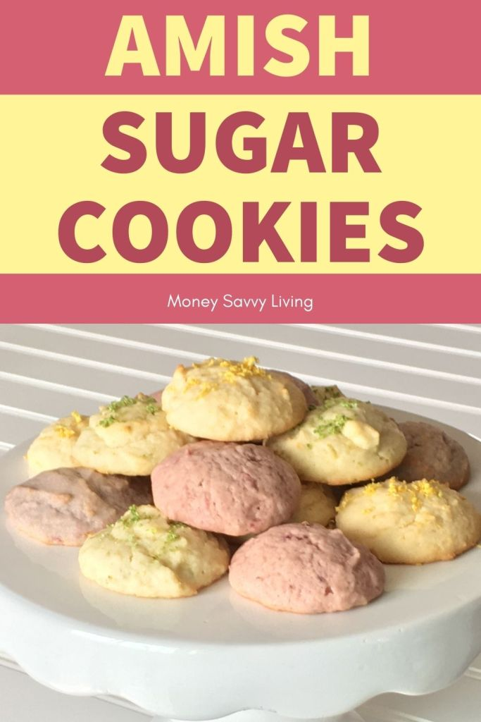 Amish Sugar cookies are so easy to make, and these are even tastier with added lemon, lime, strawberry and blackberry flavors! #amishsugarcookies #dropsugarcookies #sugarcookie #cookierecipe #cookeis #dessert #lime #lemon #strawberry #blackberry