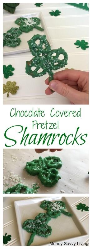 Chocolate Covered Pretzel Shamrock // Money Savvy Living
