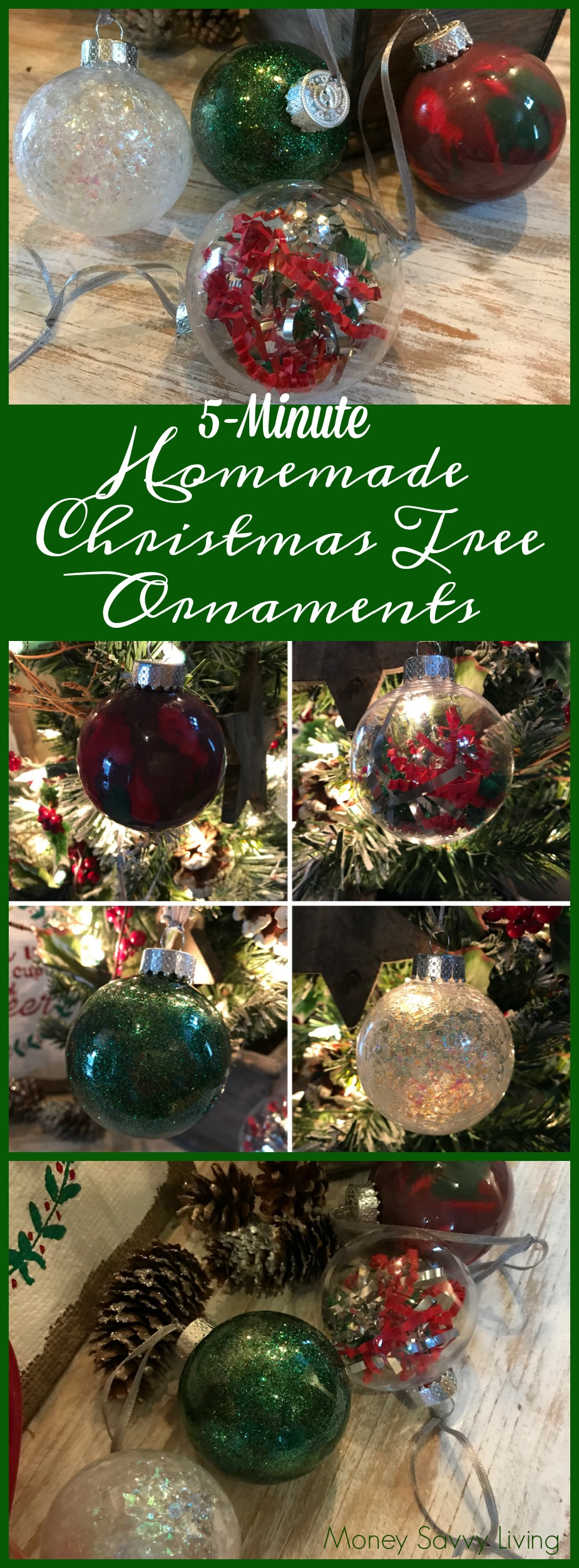 5-Minute Homemade Christmas Tree Ornaments. The creativity is nearly endless with these clear ornaments!  Here are just a few ways to make beautiful Christmas decorations in only 5 minutes!  #ornaments #Christmas #christmascrafts #christmascraftideas #christmasdecor #christmasornaments #christmasdecorations #christmasdecordiy #christmasdecorationsdiy #christmasornaments #christmasornamentsdiy #ornaments #christmascraftsforkids #glittercraft #paintcraft #nomesscraft #kidcraft #Christmasgiftideas